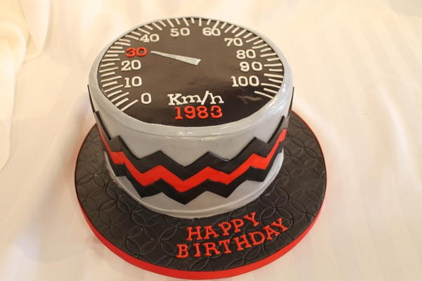 K + S Custom Cakes & Invitations - Speedometer racing cake