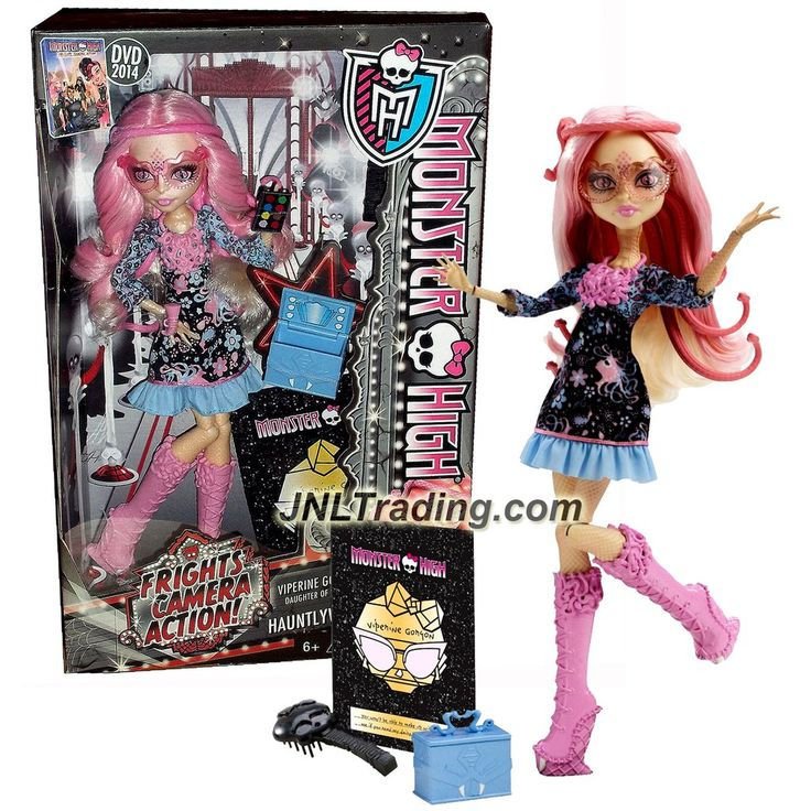 "Mattel Year 2013 Monster High ""Frights, Camera, Action!"" Hauntlywood Series 11 Inch Doll Set - VIPERINE GORGON (BDD85) ""Daughter of Stheno"" with Make-Up Box, Face Brush, Hairbrush and Doll Stand"