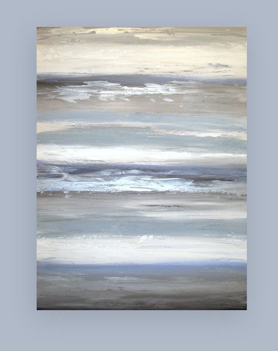 Large Painting, Abstract, Blue and Gray Original Abstract Acrylic Painting by Ora Birenbaum Titled: Cloudy Skies 5 30x48x1.5″