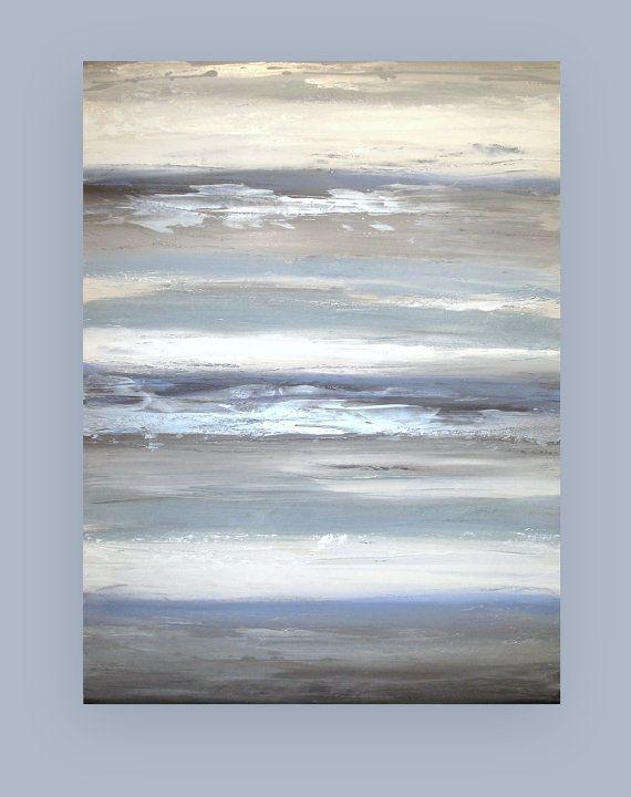 Blue and Gray Original Abstract Acrylic by OraBirenbaumArt on Etsy, $485.00