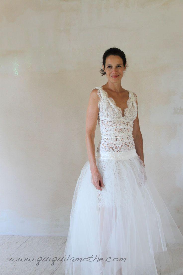 Robe de mariée transformable simple jupe en tulle à ...