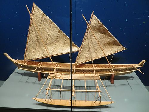 Model of wakasiu outrigger sailing canoe from Kapingamaran… | Flickr