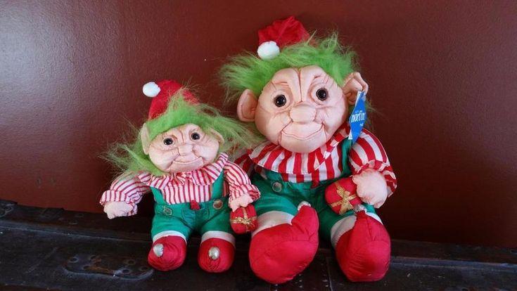 Vintage 1992 Norfin Troll Set Plush Parachute Holiday Christmas Dolls #Norfin