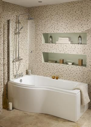Bowmore P shape bath, shower screen and panels