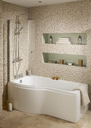 Bowmore P shape bath, shower screen and panels