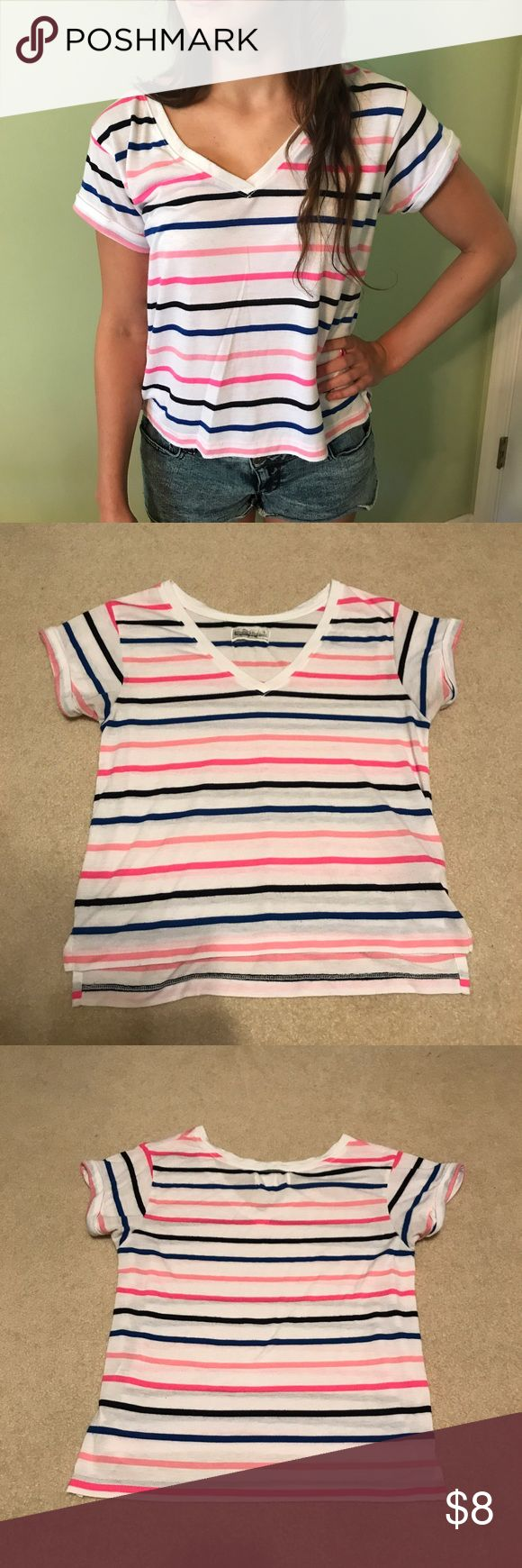 Abercrombie and Fitch Striped T-Shirt Size S Abercrombie and Fitch t-shirt with blue and pink stripes size S. Very light wear. Perfect with shorts, jeans, of leggings! Abercrombie & Fitch Tops Tees - Short Sleeve