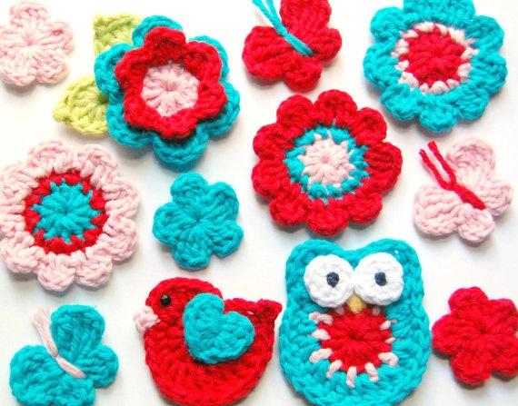 red and aqua crochet appliques