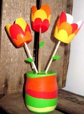 diy bouquet tulipes r cup 39 activites fete des meres. Black Bedroom Furniture Sets. Home Design Ideas