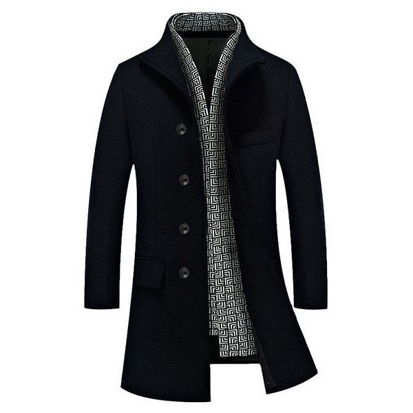 Winter Gentlemanlike Woolen Long Coat Warm Turndown Collar Slim Fit... (41.315 CLP) ❤ liked on Polyvore featuring men's fashion, men's clothing, men's outerwear, men's coats, men, mens slim fit coat, mens wool coats, mens slim fit wool coat, mens slim pea coat and mens single breasted pea coat