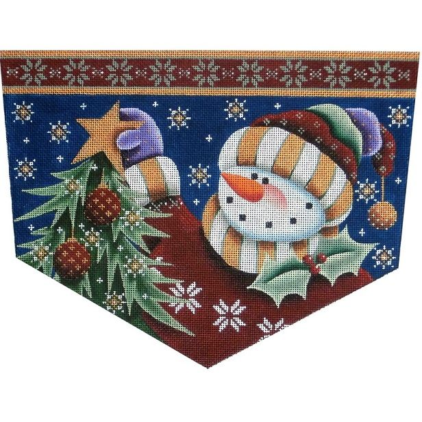 click here to view larger image of Snowman Star Stocking Cuff - 13ct (hand painted canvases)