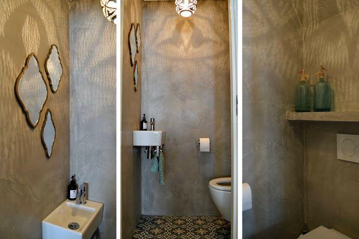 Gaaf toilet met portugese tegels en pandomo op de muur leuke oosterse stijl in appartement in - Muur tegels voor wc ...