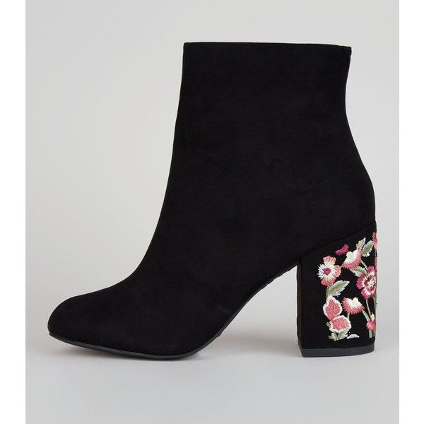 New Look Black Suedette Floral Embroidered Heel Boots ($45) ❤ liked on Polyvore featuring shoes, boots, black, black zipper boots, new look boots, block heel shoes, kohl boots and high heel shoes