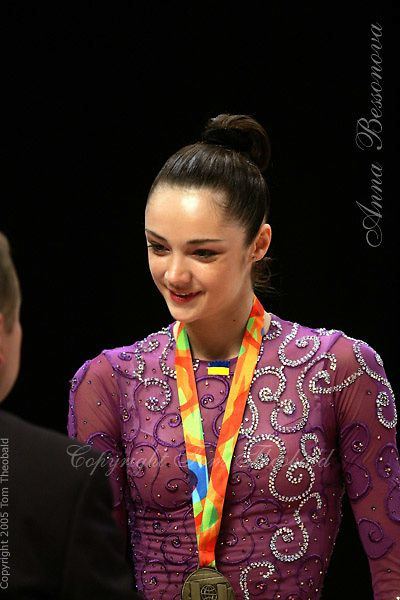 Anna Bessonova of Ukraine wins Gold, Silver and Bronze in rhythmic gymnastics apparatus final at World Games from Duisburg, Germany on July 20-21, 2005.  Event finals in rhythmic gymnastics are only held at World Games. ( Photo/Tom Theobald)