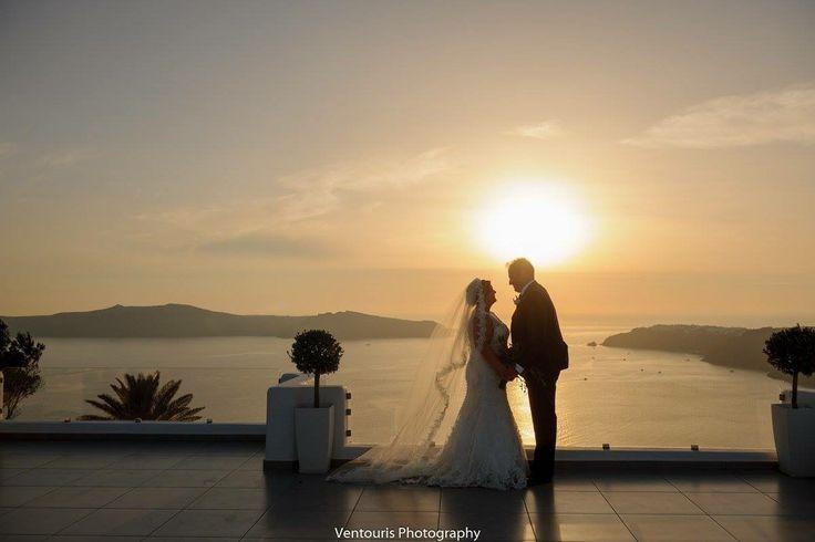 Shuttleworth Lee & Yeomans Carly, Santorini Weddings, Wedding venue, Wedding ceremony and reception, Sunset view