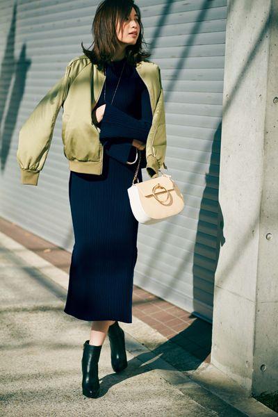 講談社 withオフィシャルサイト | [明日のコーデ]木曜日はGUのMA-1にタイトスカートを合わせて、かっこいいも、女っぽくもGET♡ [宮田聡子]
