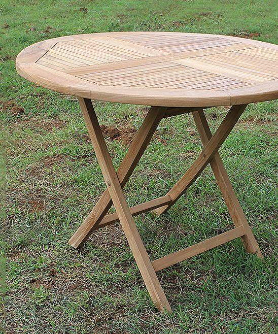 Round Teak Wood Folding Table