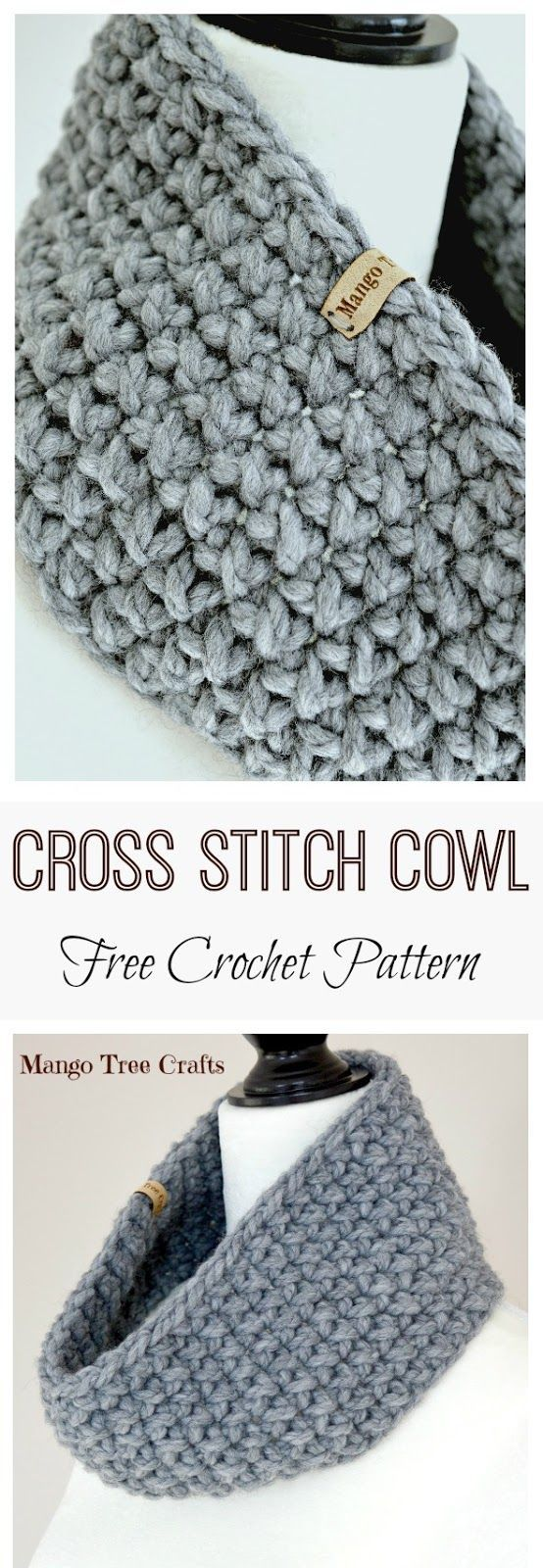 Mango Tree Crafts: Bulky Cross Stitch Cowl Free Crochet Pattern