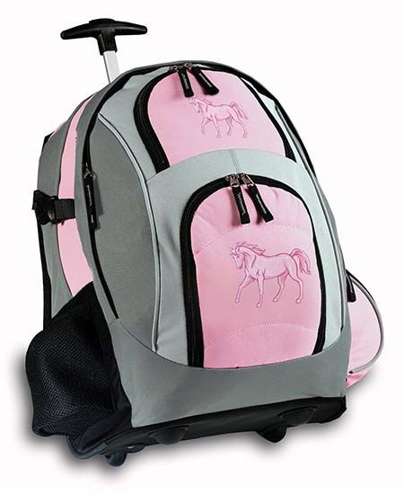 6. Pink Horse Rolling Backpack Horses Wheeled Travel Bag School Trolley Bags Horse