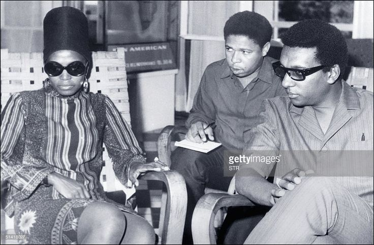 Picture dated 12 September 1968 shows Stokely Carmichael, alias Kwame Ture, the radical former Black Panther leader who died 15 November in the West African country of Guinea, his political organisation said. Carmichael, 57, died in the capital Conkry, after a more than two-year bout with prostate cancer. At (L) is his wife, South-African singer Myriam Makeba.