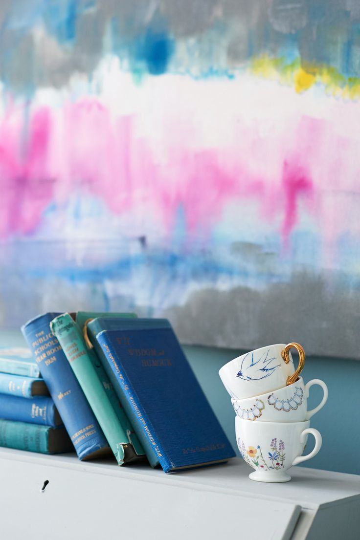 Pretty watercolor art, books and ceramics make for cheerful corners at home. Get inspired to decorate with color in this NEW INTERIORS BOOK! http://www.barnesandnoble.com/w/bright-bazaar-will-taylor/1116973866?ean=9781250042019