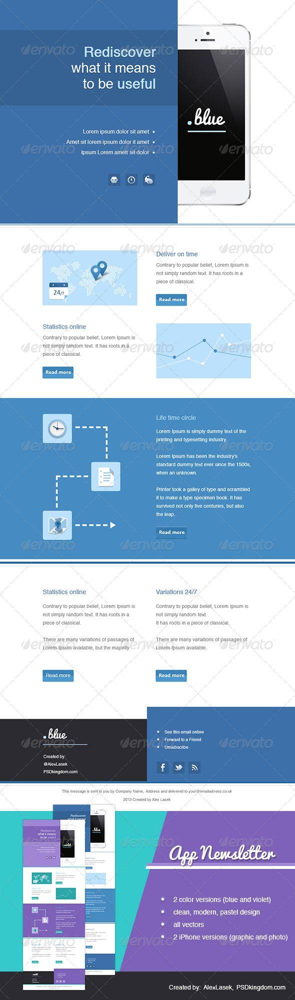 Random colors website -  App Enewsletter Templates Blue Violet E Newsletters Web
