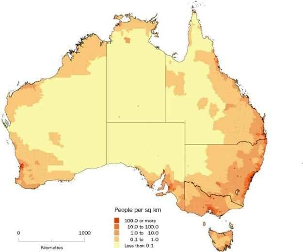 Australia's population density.