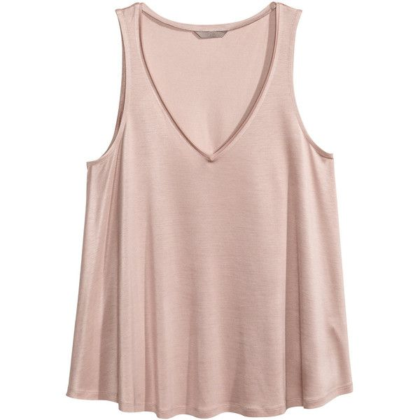 H&M+ V-neck Tank Top $12.99 ($13) ❤ liked on Polyvore featuring tops, plus size, v neck tops, h&m tank tops, v-neck tank, v-neck top and pink tops