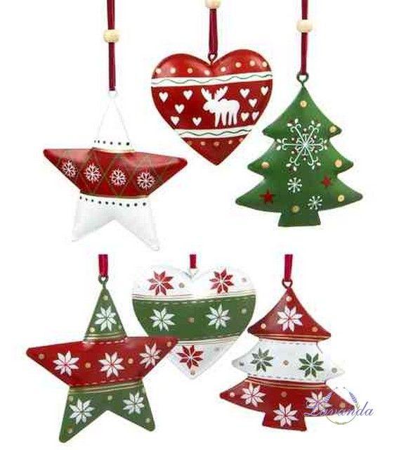 Vianočné ozdoby Hviezdička, Srdiečko a Stromček, sada 6 ks