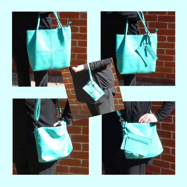 Emerald Green Set of 3 Bags. Shopping/Tote bag, messenger bag/bag insert, id bag.