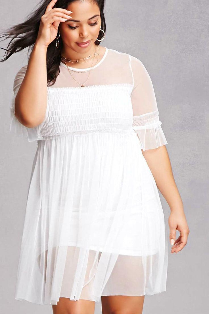 Plus Size Sheer Tulle Dress