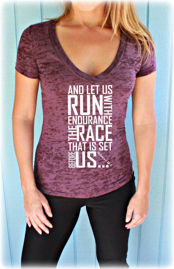 Womens Workout V Neck T Shirt. Keep Running the Race Bible Verse. Christian Clothing. Burnout T Shirt. Running T-Shirt. Hebrews 12 1. #etsymntt #fitfam