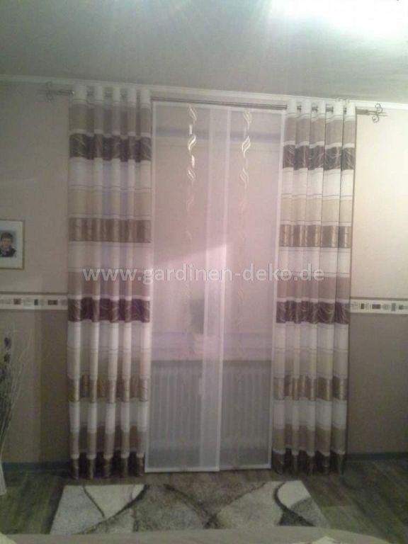 moderner schiebevorhang in taupe und braun. Black Bedroom Furniture Sets. Home Design Ideas
