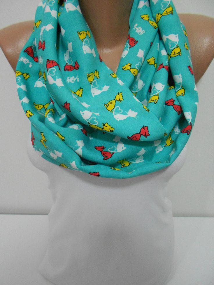 Cat Scarf Infinity Scarf Soft Cotton Animal Scarf Green Scarf www.scarfclub.net