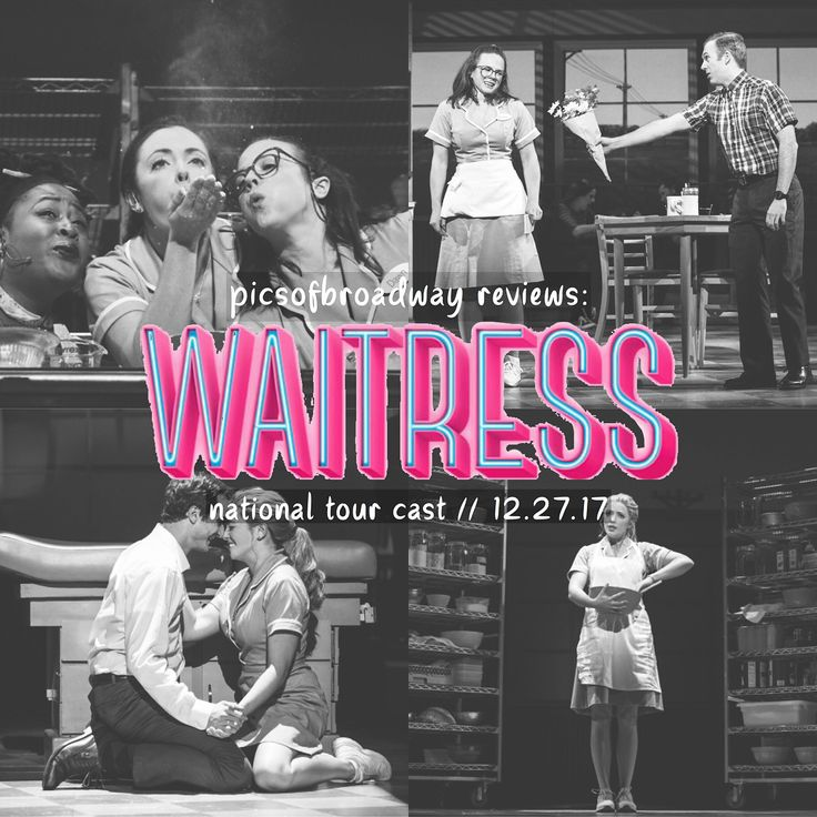 last night i was lucky enough to see the touring cast of waitress with the full cast (no understudies)! ive been listening to the cast recording for almost two years now and this production completely fulfilled my expectations for what the show would be like. from the cherry pie curtain to the apple pie you can buy at the snack bar to jennas creations of pies in her mind everything was pie-themed and sweet and perfect. the one thing i didnt realize about waitress is how FUNNY it is. every…