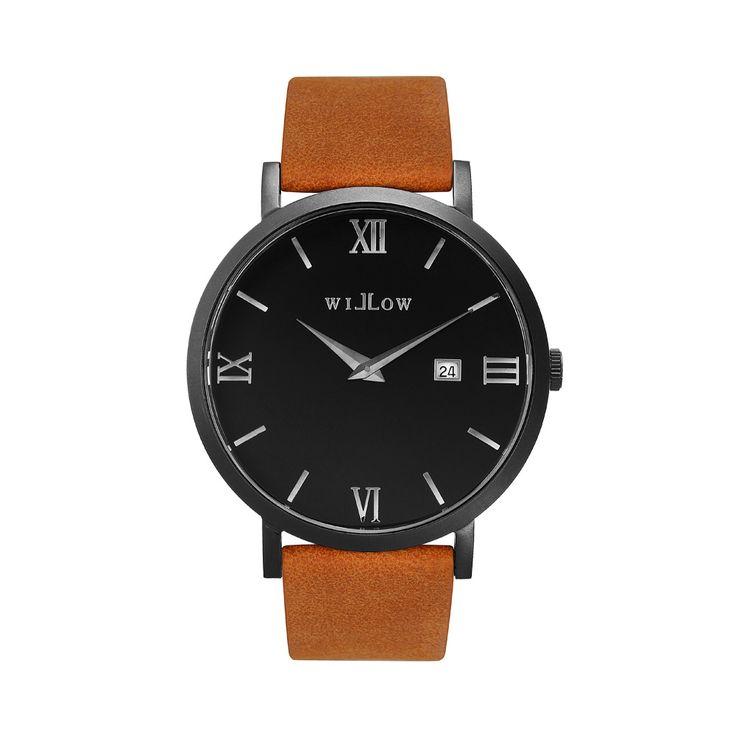 Verona Matte Black Watch & Interchangeable Tan Vegan Strap.