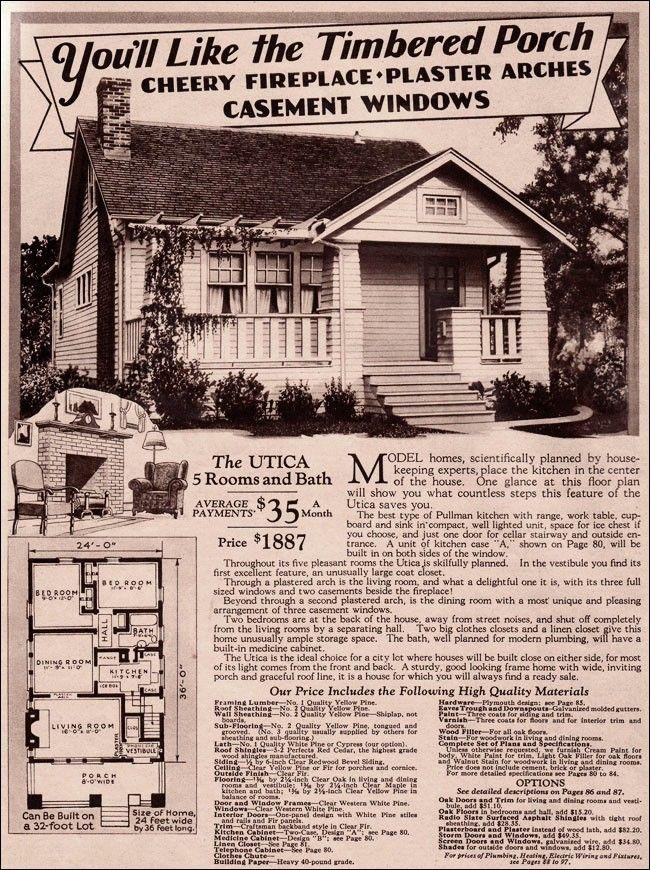 Utica Montgomery Wards Modern Bungalow Vintage House Plans Modern Floor Plans