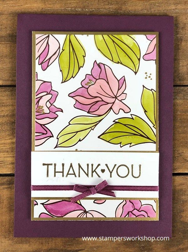 Thank you!    Create a pretty card using the gorgeous Springtime Foils Specialty DSP and the One Big Meaning stamp set.    #stampersworkshop #stamping #stampinup #cardmaking #papercrafts #springtimefoils  #onebigmeaning