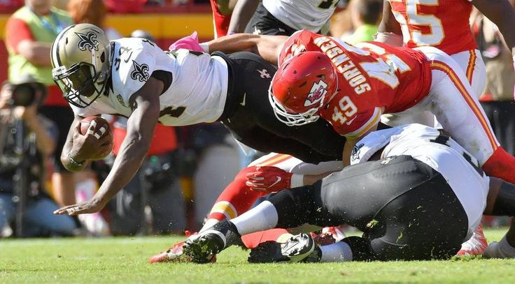Saints vs. Chiefs  -  27-21, Chiefs  -  October 23, 2016:    New Orleans Saints running back Tim Hightower is stopped by Kansas City Chiefs defensive back Daniel Sorensen in the third quarter during Sunday's football game on October 23, 2016 at Arrowhead Stadium in Kansas City, Mo.