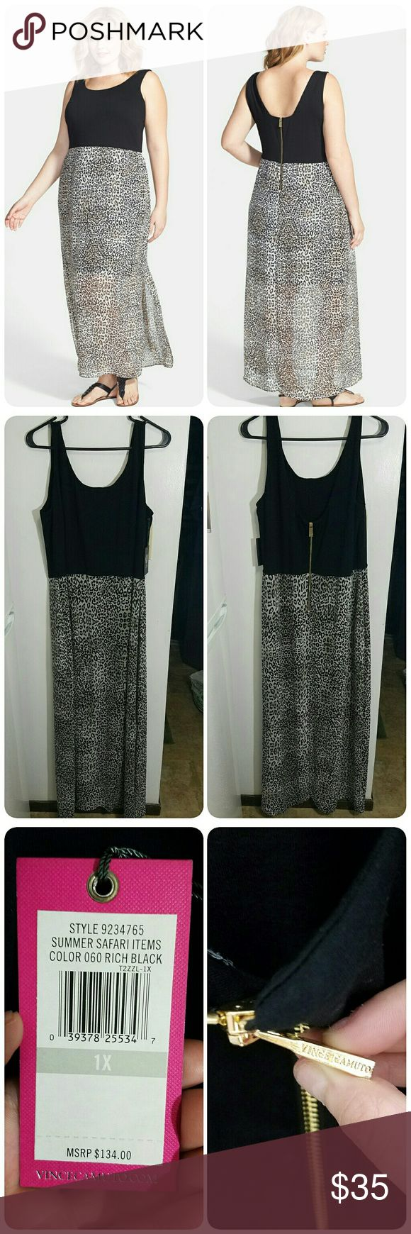 NWT Vince camuto Chiffon Leopard Maxi Dress Vince camuto Chiffon overlay des leopard maxi dress, NWT.  Dress has a lightweight jersey fabrication thar offers effortless warm-weather wear.  The skirt is a fun leopard pattern, and the top is solid black. The dress features a scoop neckline and back.  The dress is a size 1X. The top and skirt lining fit true to size but the sheer leopard print skirt overlay runs small/tight and hugs the body significantly more than photos show or imply. Vince…