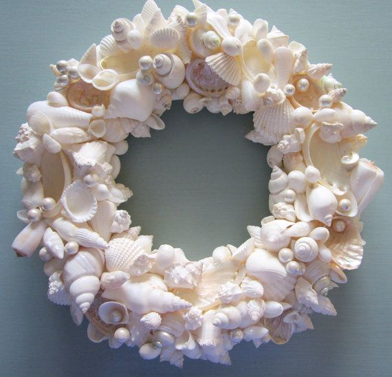 Beach Decor Seashell Wreath - Shell Wreath w Starfish - Elegant All White, 12inch