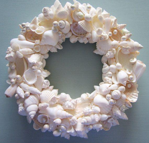 Beach Decor Seashell Wreath - Shell Wreath w Starfish - Elegant All White, 12inch