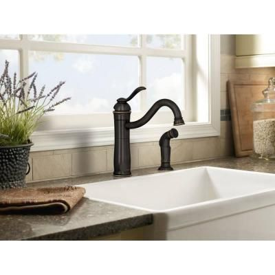 MOEN Walden Single-Handle Side Sprayer Kitchen Faucet in Mediterranean Bronze Featuring Microban Protection-87427MBRB - The Home Depot