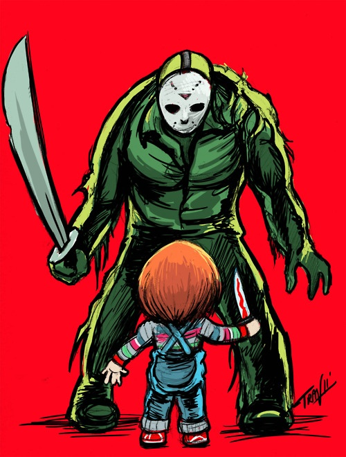 Freddy Vs Jason? Nah.  How bout Jason Vs. Chucky? Now THAT would be a big drawn out brawl to end all brawls wouldn't it?  ....Ok maybe not. But I want the chance to see my fave demon doll go head to knee with the hockey mask mongo from the woods!!! Who's with me?!!!?