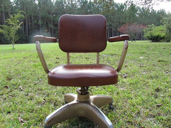 Vintage Office Chair, Rolling Chair,metal Chair,faux Leather Chair,brown  Chair