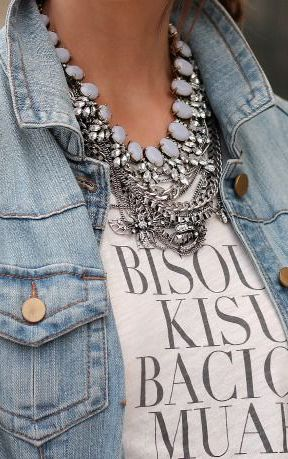 denim jacket + graphic tee + layered necklaces.