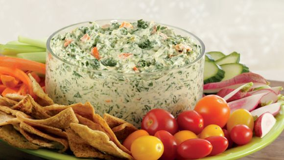 Knorr Spinach & Greek Yogurt Dip. I used regular yogurt, added 1/2 tsp garlic, 1 tbsp. epicure bacon & chives  spice, 1 tin diced water chesnuts and 2 tbsp. diced small bacon bits.