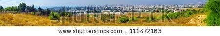 Panoramic view of Tunisi - architettura, giallo, palazzo, panoramico, tetto, vecchia, Arabo, Casa, Medina, Moschea, Skyline, Steeple, Torre, Tunisi, Tunisia, aerea, azzurri, cielo, città, città, cupola, mura, nessuno, paesaggio urbano, panoramica, urbana, verde, via satellite