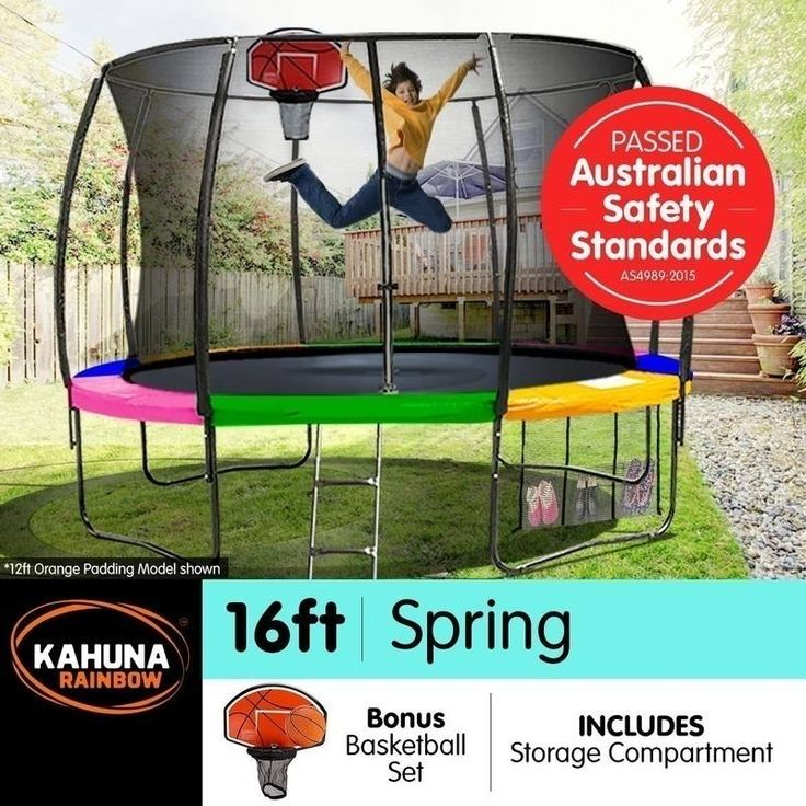 Kahuna 16ft Trampoline with Net Enclosure - Rainbow | Buy 16ft Trampoline