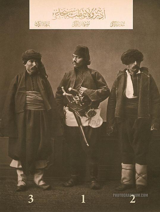 Clothing from province of Adrianople (Edirne), Ottoman State. 1-Muslim horseman of Filibe (Plovdiv), 2-Bulgarian of Koyuntepe, 3-Bulgarian of Ahi Tchelebi (Ahi Celebi). Istanbul, 1873