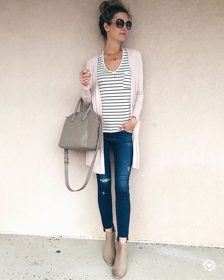 nordstrom anniversary sale tops - long sleeve stripe tee under pink cardigan with skinny jeans and booties on pinterestingplans